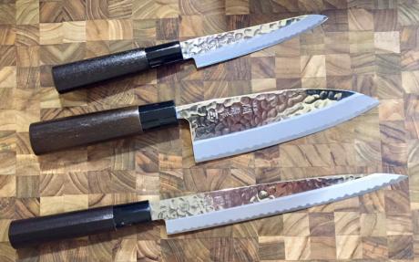 Set de 3 couteaux de cuisine jaku hammered - Set de couteau de cuisine ...