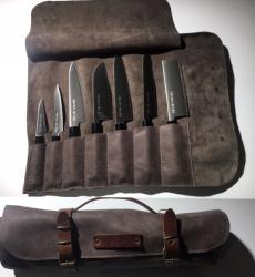 MALLETTE DE TRANSPORT DE 7 COUTEAUX DE CUISINE EN CUIR CRAFTED - GREY