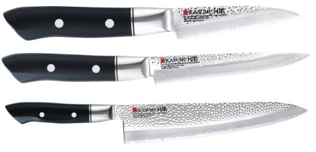 set 3 couteaux de cuisine japonais kasumi hammered forme europ enne. Black Bedroom Furniture Sets. Home Design Ideas
