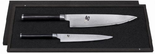 coffret couteau de cuisine kai 2 couteaux shun damas chef utilitaire. Black Bedroom Furniture Sets. Home Design Ideas