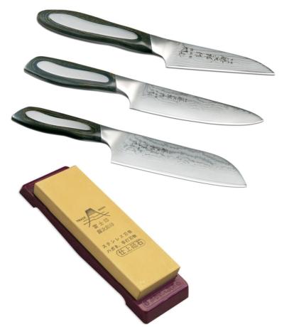 set de 3 couteaux de cuisine japonais tojiro flash forme japonaise et pierre. Black Bedroom Furniture Sets. Home Design Ideas